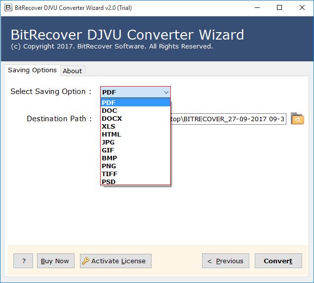 DjVu Converter - Batch DjVu to PDF, DOCX, DOC, HTML, XLS, GIF, JPG